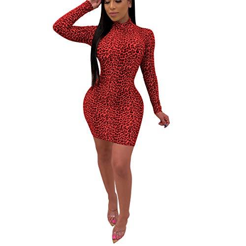Yyibsones Women's Sexy Leopard Bodycon Dress Casual Club Party Long Sleeve Slim Short Mini Dress (Red, XL)