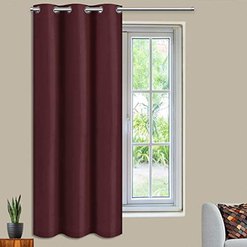 Blackout Curtains Room Darkening Curtains for Bedroom Thermal Insulated Grommet Red Curtain Panels for Christmas Blackout Drapes for Living Room with tieback, (1 Panel,42x63 Inch Burgundy)