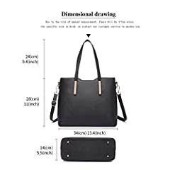 Miss Lulu Women Fashion Handbag Shoulder Bag Purse Faux Leather Tote 3 Piece (Black) #1