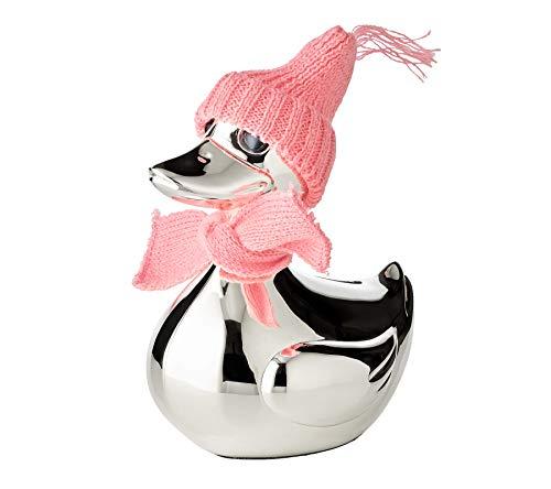 EDZARD Spardose Ente, Höhe 13 cm, edel versilbert, anlaufgeschützt, mit Schal und Mütze in rosa und hellblau