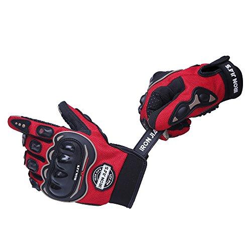 IRON JIA'S Guantes de Motos Motocicleta para Carreras Todo Terreno, Guantes de Moto para Pantallas táctiles Resistentes a caídas (L, Red)