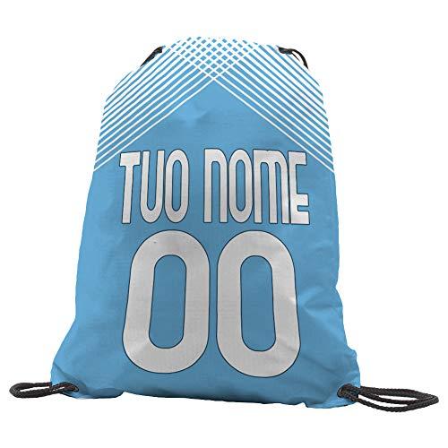 Sacca Ginnastica GYMBACK 2021 sport per tifoso Lazio - sacchetto sportivo calcio Fashion Borsa, Piscina, Zaino,portascarpe Scuola per Ragazze Donne Bambini, personalizzato con nome e numero