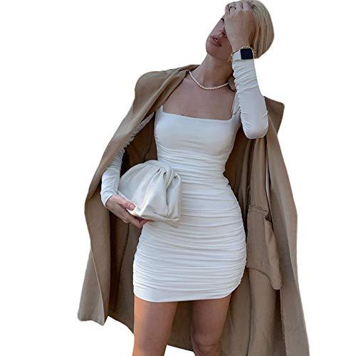 Vestito Donna Sexy Aderente Manica Lunga Abito Donna Autunno/Primavera a Pieghe Vestito Donna Sexy alla Moda Vestito Donna Elegante Abito Donna A-Line S-L (Bianco, S)