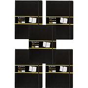 Idena 209292 - Notizbuch DIN A4, 192 Seiten, 80 g/m², liniert, schwarz (5er Pack)