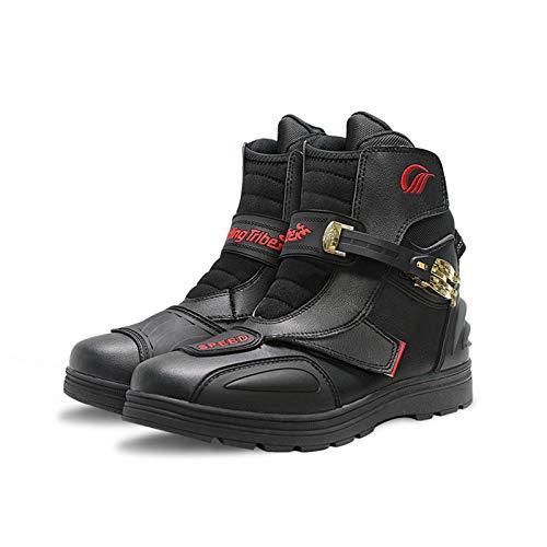 Sebasty Botas de Moto,Botas de Moto de Cuero PU,Botas Todoterreno de Motocross para Hombre,Zapatos,Botas de Moto de Tobillo,Moto,Black-41