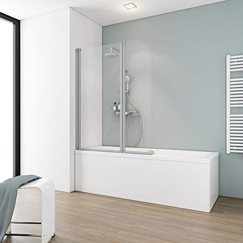 Schulte Duschwand Köln, 114x140 cm, 3 mm Sicherheitsglas klar, alu-natur, Duschabtrennung für Badewanne