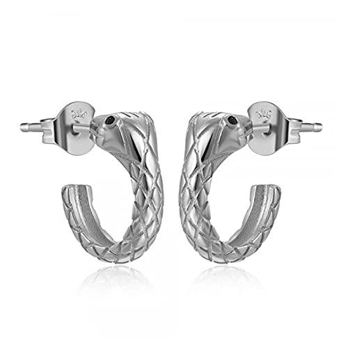 Pendientes de botón de plata de ley 925 para mujer CZ Zircon Serpiente Pendiente de piercing europeo americano Pendientes de joyería pendientes