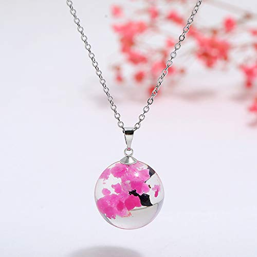 Jiaojie Women's Necklace LED Luminous Transparent Pendant with 3D Sky Charm Crystal Resin Ball Party Wedding Jewelry