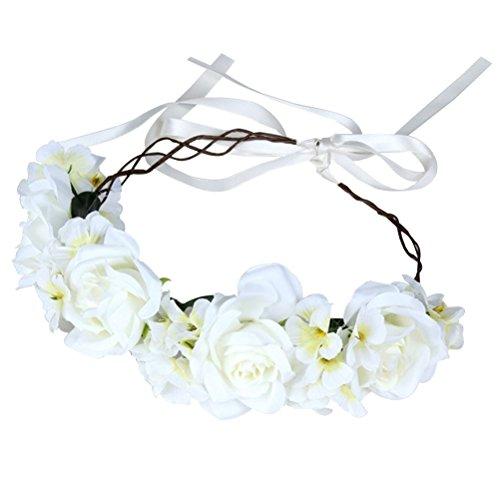 Frcolor Künstliche Blumen-Haarbänder Simulation Rose Stirnband Hairstlye Zubehör für Cocktail Party Hochzeit Engagement Feier (weiß)
