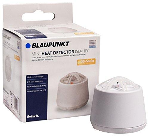 Blaupunkt Mini-Hitzemelder ISD-HD1 I Hitzemelder für Küche, Hobbyraum, Garage, Dachboden, Keller I 10-Jahres-Batterie I Durchmesser nur 5 cm I Integrierte 85 dB Sirene I Weiß