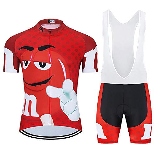 Moxilyn Herren Radtrikot Set, Atmungsaktiv Quick-Dry Kurzarm Radsport-Shirt +20D Gel Shorts