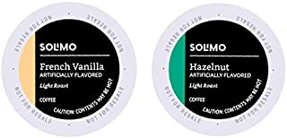 Amazon Brand – 100 Ct. Solimo Variety Pack Light Roast Coffee Pods, Hazelnut and French Vanilla Flavored, Compatible with Keurig 2.0 K-Cup Brewers