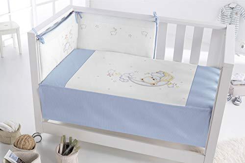 Pielsa Edredón Más Protector Cuna 122184, Bebe, Cama, Color Azul, Tamaño 120 x 60