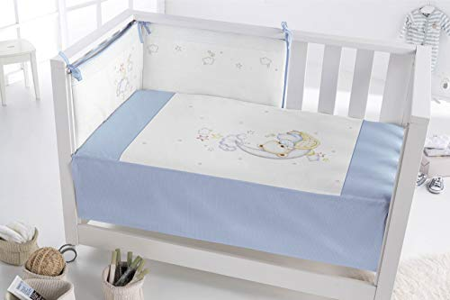 PIELSA BABY - 3375-4 | Edredón Más Protector Cuna | Edredón Más Protector Bebe | Edredón Más Protector Bebe Cama | Color Azul | Tamaño 120X60