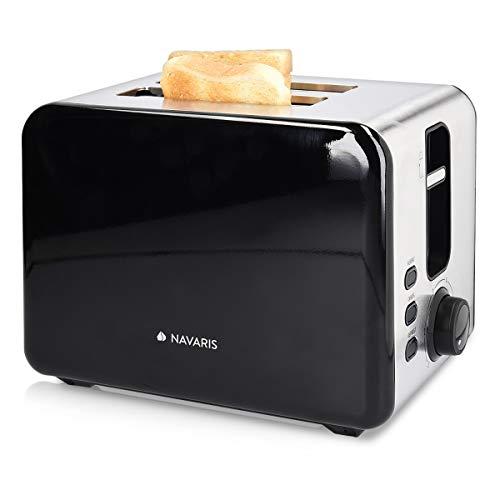 Navaris Edelstahl Doppelschlitz Toaster - 2 extragroße Toast Schlitze - 6 Stufen - automatische Brotzentrierung - 1000W - Brushed Metallic Silber
