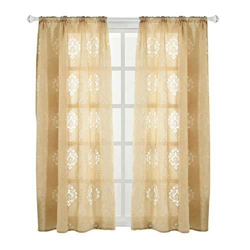 Cortina doméstica, Cortina de janela de poliéster, Limpa para quarto, sala de estar e cafeteria(Beige)