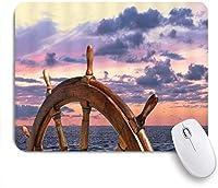 NIESIKKLAマウスパッド ナビゲーションピンクスカイパープルクラウドオーシャン海木製ヘルム航海 ゲーミング オフィス最適 高級感 おしゃれ 防水 耐久性が良い 滑り止めゴム底 ゲーミングなど適用 用ノートブックコンピュータマウスマット