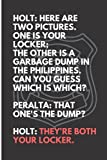 Your Locker vs Garbage Dump - Most funny quotes from tv series Brooklyn 99 - notebook of ideas, diary, journal. Brooklyn 99 gift merchandise birthday ... Jake, Amy, Charles, hitchcock and scully