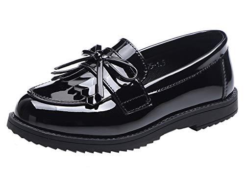 DADAWEN Girls' Slip On Loafers Flat Pumps Fringe Tassel School Shoes Black...