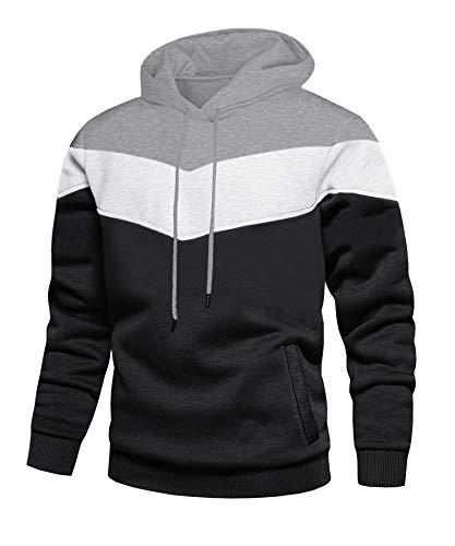 KEFITEVD Kapuzenpullis Herren mit Streifen Hoody Sweatshirt Oversize Winddicht Atmungsaktiv Arbeitskleidung Winter Pullover Polyester Sweater Männer Grau-Schwarz XL