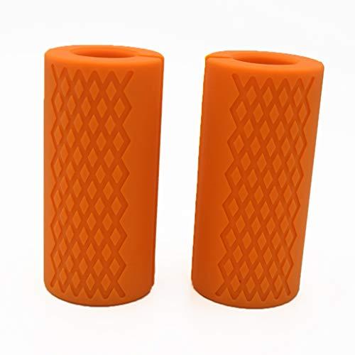 Empuñaduras para mancuernas con barra gruesa, adaptador de barra de peso, agarre de barra de pesas, agarre de barra de levantamiento de pesas, color naranja