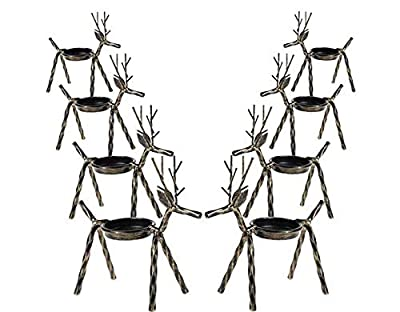 MorTime 8 Pack Christmas Reindeer Tealight Candle Holders, Bronze Finished Metal Tea Light Candleholders, Xmas Deer Holders Set for Table Kitchen Christmas Decorations