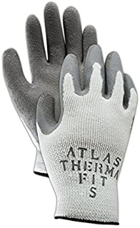 Showa Best 451-08 SHOWA Best Glove Atlas Thermal-Fit PF451 Knit Glove with Rubber Coating, Men's Jumbo (Fits), Natural Gray, Medium (Pack of 12)