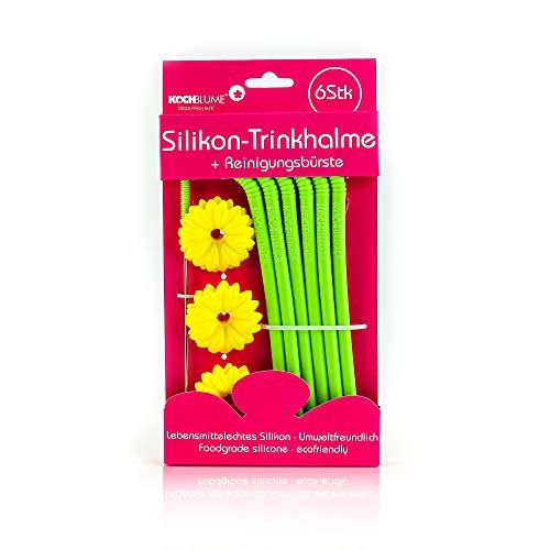 Kochblume Silikon-Trinkhalm-Set | 6-teilig mit Reinigungsbürste (Limette)