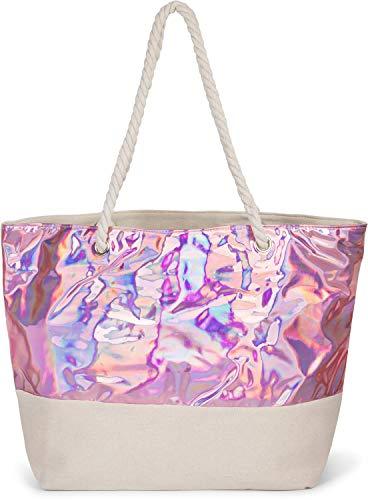 styleBREAKER Damen XXL Strandtasche in Metallic Optik mit Reißverschluss, Schultertasche, Shopper 02012279, Farbe:Rosa Metallic