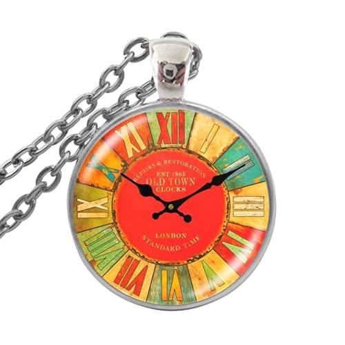 Reloj de bolsillo de reloj de moda, collar de cristal con colgante de cabujón de joyería, collar de cadena larga para mujeres y niñas