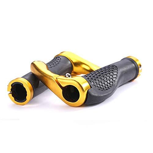 VOANZO Bicycle Handlebar Grips, Ergonomic Design Rubber MTB Mountain Bike Handlebar Grips with Bar Ends Horns, Comfortable Protector (Black+Gold)