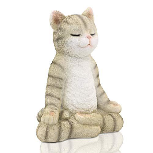 Goodeco Meditating Zen Yoga Cat Figurine Garden Ornament-Indoor/Outdoor Garden Cat Statue Sculpture for Home,Garden, Patio,Deck,Porch Yard Art or Lawn Decor,22cm(Cat Gray)