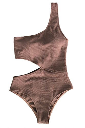 CUPSHE Women's One Piece Swimsuit One Shoulder Cut Out Ribbed Swimwear Bathing Suits Coffee L