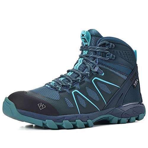 XPETI Women's Wildfire Mid Waterproof Hiking Boot Navy/Blue 8.5
