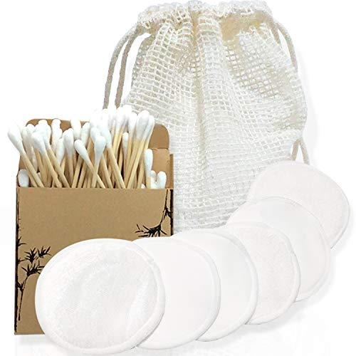 Biosia | Coton Démaquillant Réutilisable | 6 Tampons Démaquillants Fibre de Bambou | Disque Demaquillant Lavable + Coton Tige | 100 Coton Tige Bambou + Sac de Lavage | Zéro Déchet|