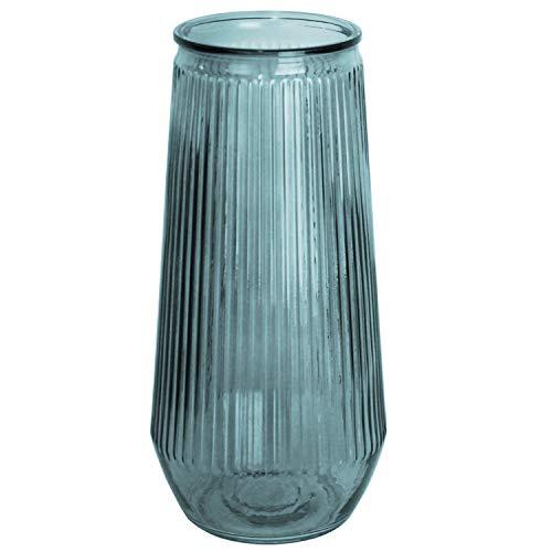 Vase de table Ø14x30cm cannelé, vase en verre transparent, vase à fleurs, vase décoratif, décoration de table, couleur: bleu
