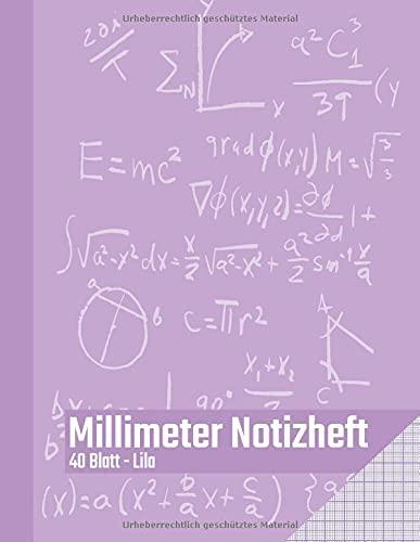 Millimeter Notizheft - 40 Blatt - Lila: Millimeterblock zum technischen Zeichnen   Zeichenblock für den Bürobedarf und Studium   Perfekt für ... Ingenieure und Studenten