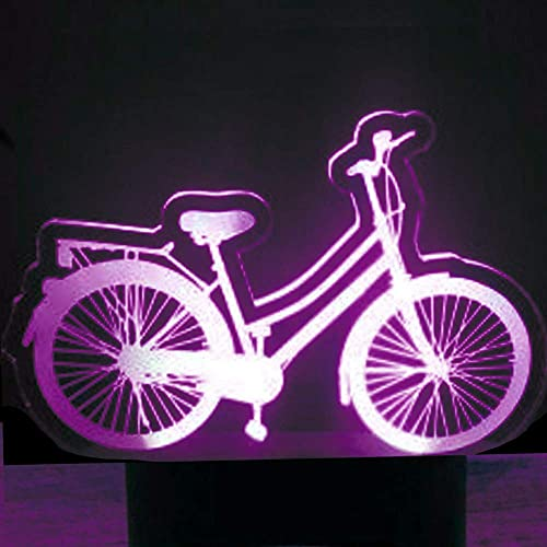 Faro de bicicleta 3D ilusión óptica luz nocturna 7 cambio de color interruptor táctil de color decoración de mesa luz regalo de Navidad perfecto juguete USB