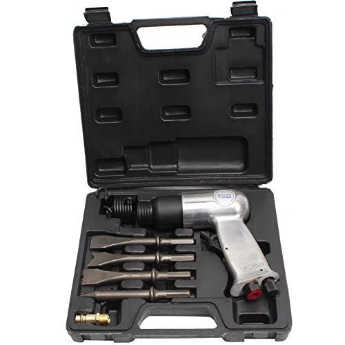 CCLIFE 8pcs Martillo cincelador Neumático con juego de herramientas máx 6.2 bar para trabajos de óxido y chapa