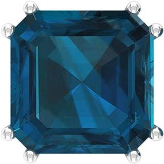 Certified 6 Ct Blue Topaz London Earring, Asscher Cut Gemstone Stud Earring, Solitaire Wedding Earring, Partywear Earring, Promise Earring for Her, Screw back