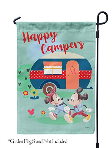 Flagology.com, Disney, Mickey Mouse & Minnie Mouse, Happy Campers Mickey & Minnie, Outdoor, Garden Flag 12.5'x18', Exclusive Premium Fabric, Printed on Both Sides, Officially Licensed Disney