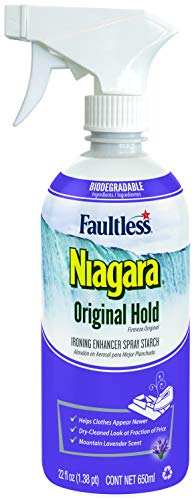 Niagara fécula en aerosol, bomba de disparo líquido almidón para planchar, spray no aerosol en almidón, reduce el tiempo de planchado sin descamación, pegado o obstrucción, ingredientes biodegradables, reciclable (22 oz