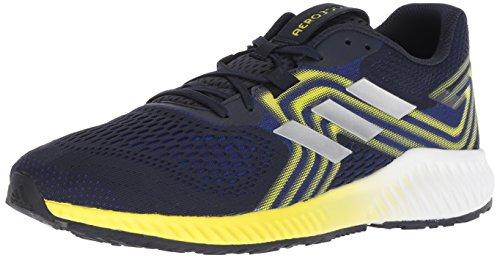 adidas Men's Aerobounce 2 Running Shoe, Mystery Ink/Silver Metallic/Shock Yellow, 11 M US
