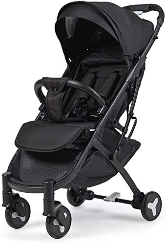 LOXZJYG Cochecito de bebé, cochecitos de Buggy compactos, carruaje de Cochecito portátil Anti-Shock con Marco de Aluminio, arnés de 5 Puntos y Alta Cesta de Almacenamiento (Color : Negro)