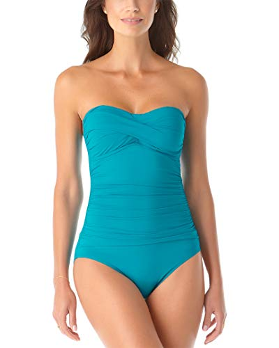 Anne Cole Women's Twist Front Shirred One Piece Swimsuit, Cobalt Blue, 12