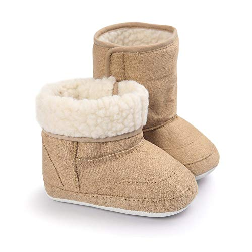 LIVEBOX Prewalker Toddler Boots Premium Soft Anti-Slip Sole Warm Winter Boots for Infant Baby Girls (M: 6~12 Months,Khaki2)