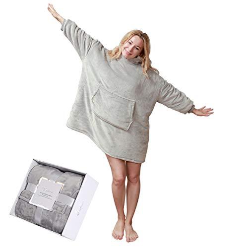 softan Sherpa Hoodie Sweatshirt Decke, super weiche warme gemütliche Riesen Hoody große Vordertasche eine Größe für alle, Silbergrau