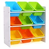 Homfa Toy <span class='highlight'>Storage</span> <span class='highlight'>Unit</span> Childrens Toy Box Organiser with 9 Plastic Bins Removable for Nursery Playroom