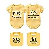 YSCULBUTOL Body de bebé Sí somos gemelos No somos gemelos idénticos gemelos mono niños niñas gemelos ropa de manga corta - amarillo - 3-6 meses