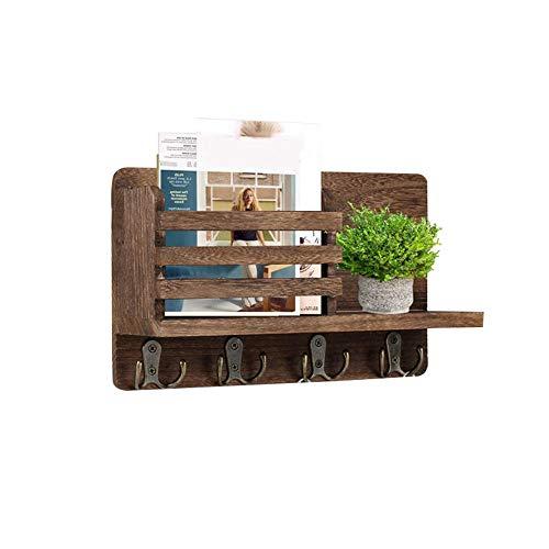 Estante de almacenamiento de almacenamiento para llaves de madera con marco de etiqueta y 4 ganchos dobles para llaves, apto para sala de entrada, sala de boca, pasillo, cocina, oficina, color marrón